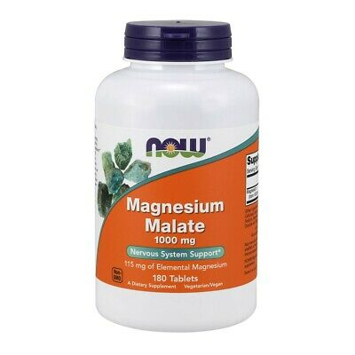 Now Magnesium Malate 1000mg - 180 Tabletten gegen Müdigkeit, Magnesiummalat