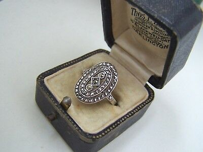 Gorgeous Vintage Solid Sterling Silver Marcasite Cocktail Ring Size N Unusual