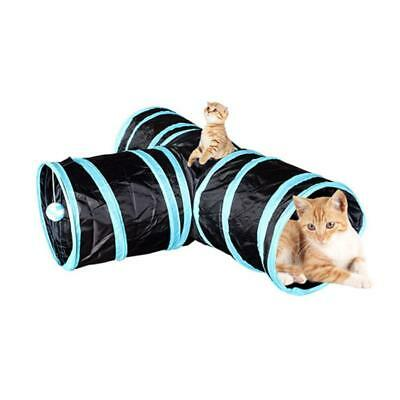 Pet Cat Toys Tunnel Leopard Print Crinkle Toys Rabbits Kittens Collapsible 3 Way