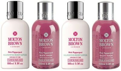 4 x 100ml Molton Brown Pink Pepperpod Body Wash & Nourishing Body Lotion