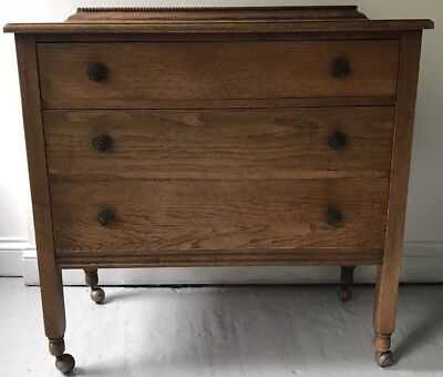 Vintage Edwardian Oak Chest of Drawers, 1930s 1940s Three Drawer Chest