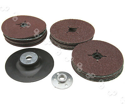 Rubber Backing Pad for Angle Grinder & 30 Fibre Backed Sanding Discs Grinding