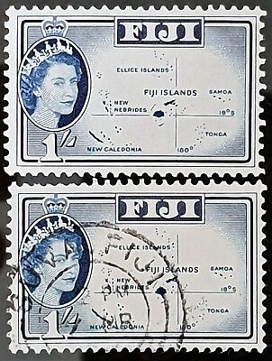 Fiji 1961 Sc # 171 Mint and Used Pair 1 Shilling Stamps