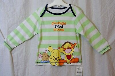 NEW! Baby Boys Disney Green White Stripe Winnie Pooh Dreams Pyjama Top Age 12-18