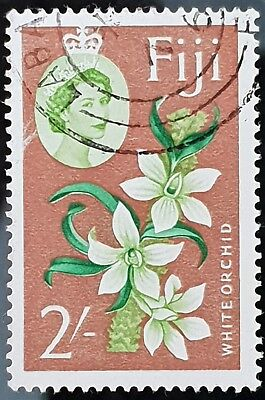 Fiji 1962 to 1967 Sc # 184 Used 2 Shilling Orchid Stamp