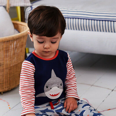 Toddler Kids Infant Baby Boys Shark Cartoon Striped Tops+Pants Outfits Clothes