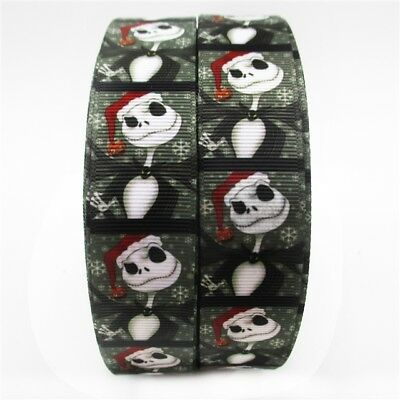 Grosgrain Ribbon Jack Skellington Christmas 25mm (1m, 2m or 5m)