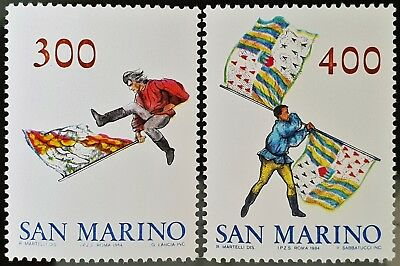San Marino 1984 Sc # 1063 Sc # 1064 Flag Wavers Mint MNH Stamps Set