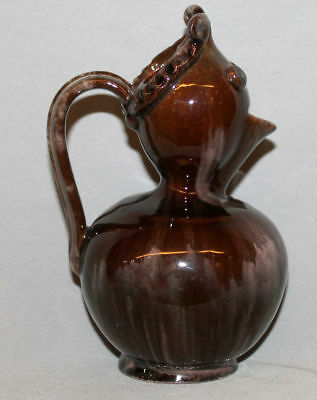 Vintage European Hand Made Glazed Redware Pottery Decorative  Pitcher Jug