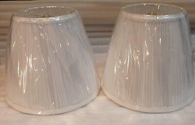 """Pair of White Pleated Lamp Shades 9"""" ht."""