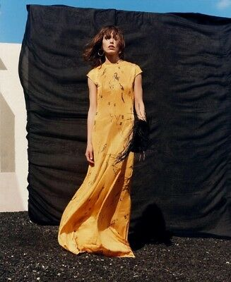 Zara yellow long printed dress Size S BNWT Bloggers favorite Sold Out