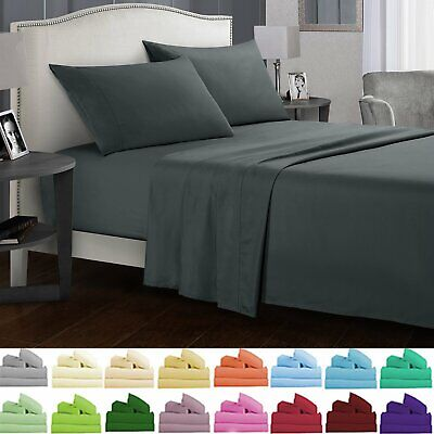 New 1000TC Ultra Soft 4 Piece Bed Fitted,Flat Sheet Set Pillowcase All Aus Size