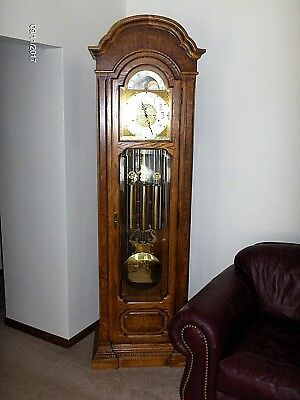 "vintage  Howard Miller THE PRESIDENT 610-156 OAK GRANDFATHER TUBE CLOCK 87"" tall"
