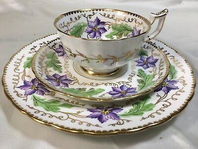 Royal  Chelsea England Purple & Green Trio - cup, saucer, plate #569A