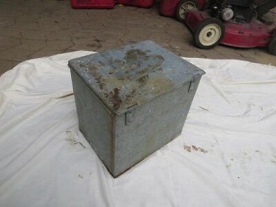 Vintage Galvanized Metal Milk Box With Notes Inside For Milkman