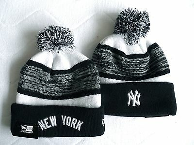 New Era NY NEW YORK YANKEES Bobble Beanie Hat Pompom Toque Pompom Baseball USA