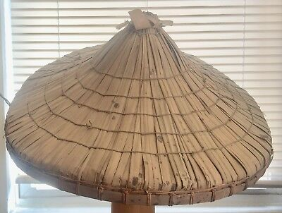 VINTAGE RICE PADDY ASIAN CHINESE COOLIE HAT STRAW BAMBOO 19 In. EXC. COND.