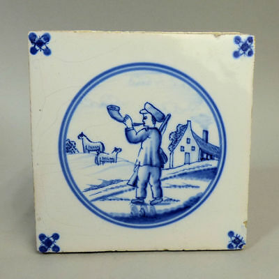 "ANTIQUE 18th CENTURY DUTCH DELFT BLUE & WHITE POTTERY TILES ""SHEPHERD SCENE'"
