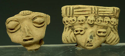 Choice Pre Columbian Pre Classic Pottery Heads of Pretty Ladies (2)