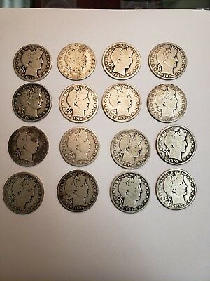 Barber Half Dollar Silver Coin Lot Of 16 $8 FV 90% Coins