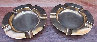 Antique / Vintage Brass Ashtrays X 2 - Pair Of Ashtrays - Stamped British Made