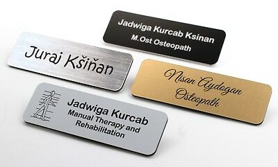Personalised Premium Name Badge Staff ID Tag Custom Bespoke Engraved With Pin