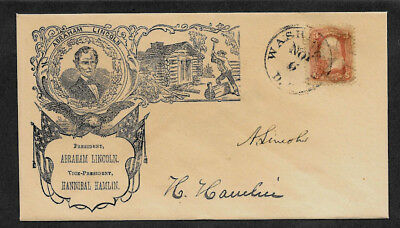 Lincoln Campaign collector envelope w original period stamp 157 years old *O1346
