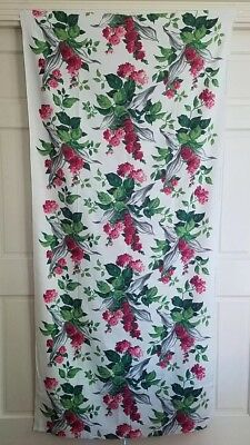 VTG 40s 50s ROSE PRINT LEAVES FLORAL BARKCLOTH FABRIC COTTON DRAPERY UPHOLSTERY
