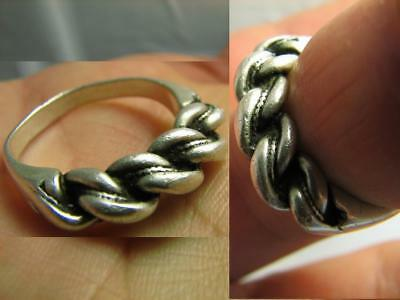 Custom Made ! Massive! Old Vintage Twisted Sterling Silver Ring #522