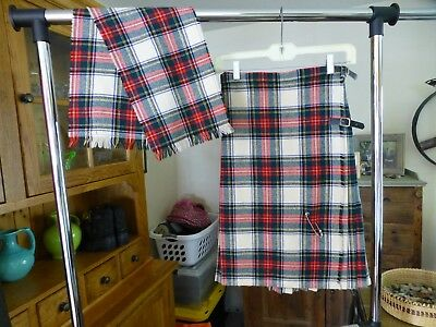 Vintage Made in United Kingdom 100% Wool Girl's 10 Kilt W/ Matching Wool Scarf.
