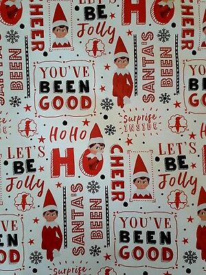 Elf on the Shelf Christmas Gift Wrapping Paper Santa's helper 2 sheets 2 tags