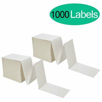 1000 Fanfold 4x6 Direct Thermal Shipping Labels 500 /Stack Perforated Zebra 2844