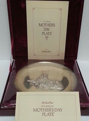 1972 Mother's Day Plate ~ Sterling Silver ~ Collie & Puppies ~Lincoln Mint ~Mib!