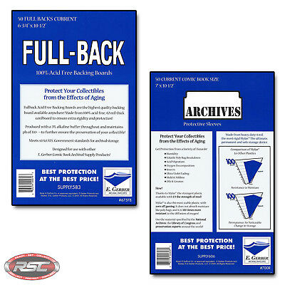 50 - E. GERBER FULL-BACK & ARCHIVES CURRENT Comic Mylar Bags & Boards 675FB/700R