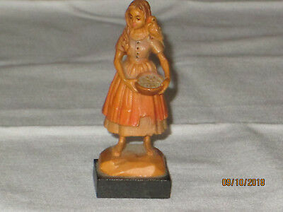 """Vintage ANRI  2 1/2"""" Tall Carved wood Figurine (Little Liza) Made in Italy"""