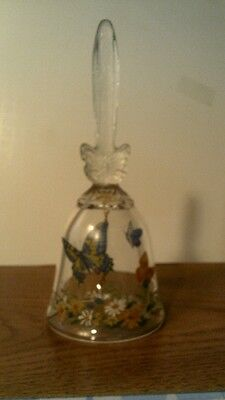 VTG 1990  Avon BUTTERFLY  FLORAL 24% LEAD CRYSTAL BELL- NO BOX-FREE SHIPPING