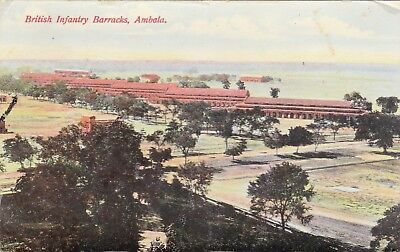 Original Postcard British Infantry Barracks Ambala India 1908