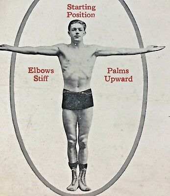 """1921 Vintage Health Builders """"exercise""""  course demo cards  MALE PHYSIQUE"""