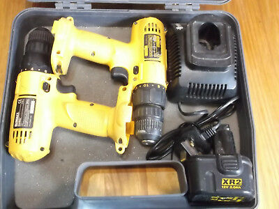 Two (2)  Pack DeWalt DW907 12V cordless drill/driver inc.Battery, Case & Charger