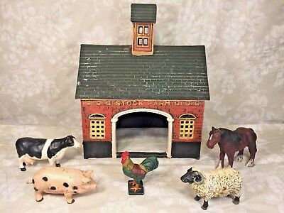 Cast Iron Stock Barn w/ 5 Metal Farm Animals Painted