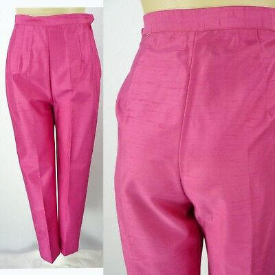 "Vintage 60s Fruit Punch Pink Cigarette Pants XS 23"" Waist High Tapered Slubbed"