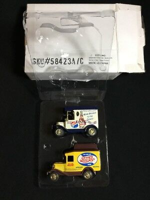 2 Golden Wheel Pepsi Cola Delivery Trucks Custom Replica 1:64 Scale Diecast IOP