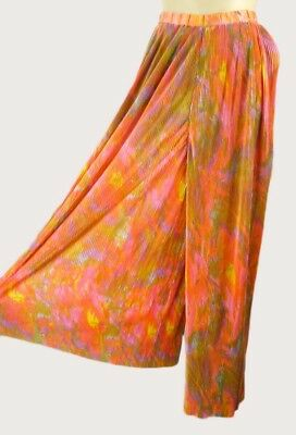Vintage 60s Neon Accordion Pleated Palazzo Pants XS Wide Leg Watercolor Print