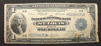 1918 Large Size $1 Federal Reserve Bank Note St Louis Missouri FR#733  VG No Res