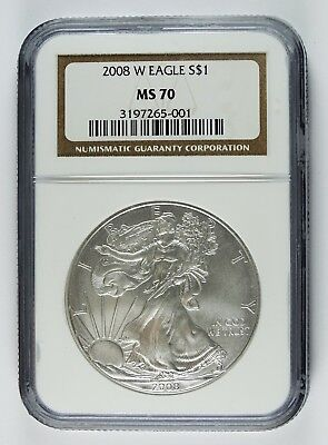 Auc0313 - 2008 W Silver Eagle S$1 Ngc Ms 70