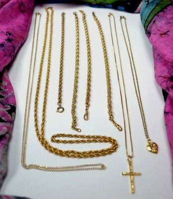 12k & 14k Gold Filled Lot Necklaces Rope Chain Bracelets for Use or Recovery 49g