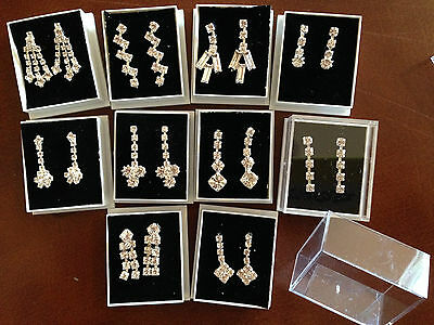 JOB LOT-10 different pairs of crystal diamante drop/pierced earrings.Gift boxed.