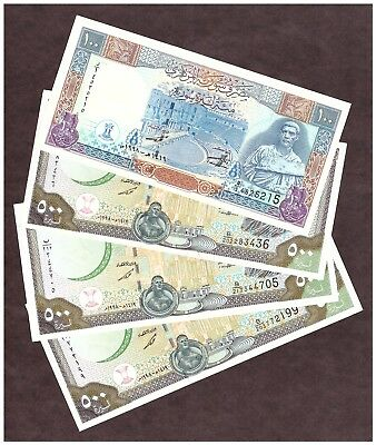 ( 4 ) Syria Notes - 3 Dated 1998 500 Pounds - 1 Dated 1998 100 Pounds - Au/unc