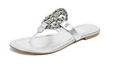 89856e5b6df4 Tory Burch NEW Miller Silver Metallic Leather Embellished Logo Sandals RUNS  SML