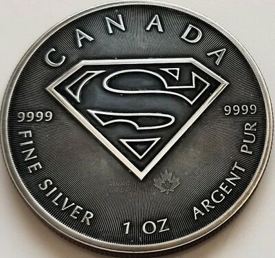 NEW 2016 Canadian Superman ,1oz .9999 pure Silver Coin in Antique Black finish